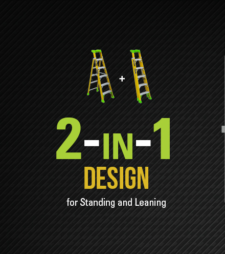 Step ladders with a two in one design for Standing and Leaning